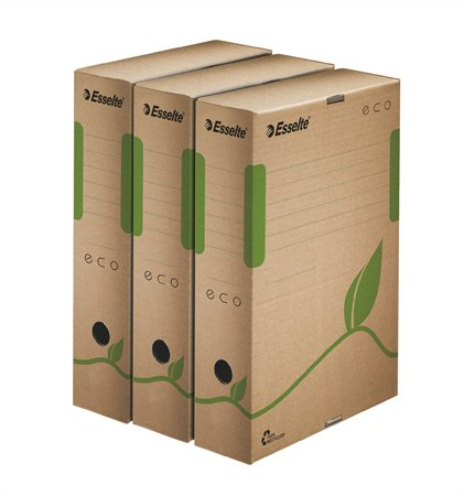 Archiváló doboz, A4, 80 mm, újrahasznosított karton, ESSELTE Eco, barna