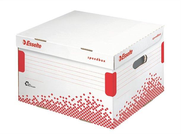Archiváló konténer, L méret, újrahasznosított karton, ESSELTE Speedbox, fehér