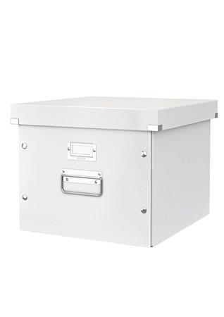 Irattároló doboz, függőmappának, lakkfényű, LEITZ Click&Store, fehér
