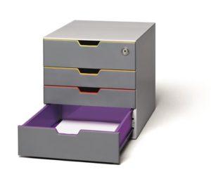 Irattároló, műanyag, 4 fiókos, 1 zárható fiókkal, DURABLE VARICOLOR SAFE 3