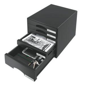 Irattároló, műanyag, 5 fiókos, LEITZ Plus, fekete