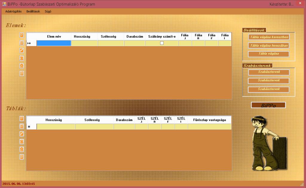 BiPPo - Bútorlap-szabászati optimalizáló program
